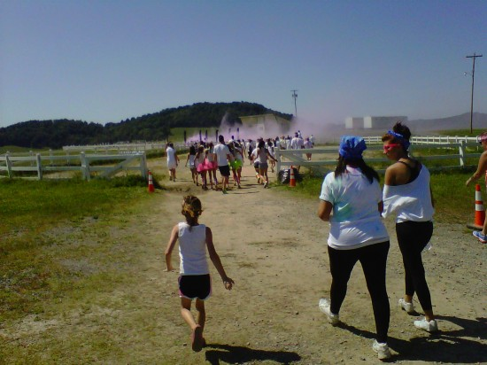 The oldest Mountain Kids and I participated in a color run.