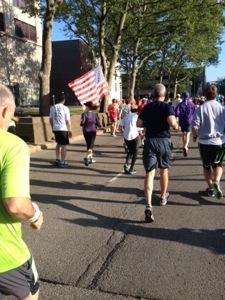 My second half-marathon. The person carrying the flag, Jo Foster, was a big part of my life in 2015-16.