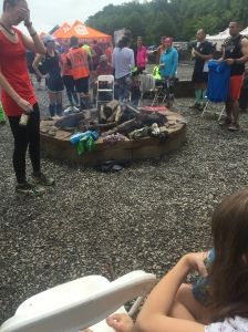 The event's fire pit, where people dried their shoes out or enjoyed the free coffee and hot chocolate.