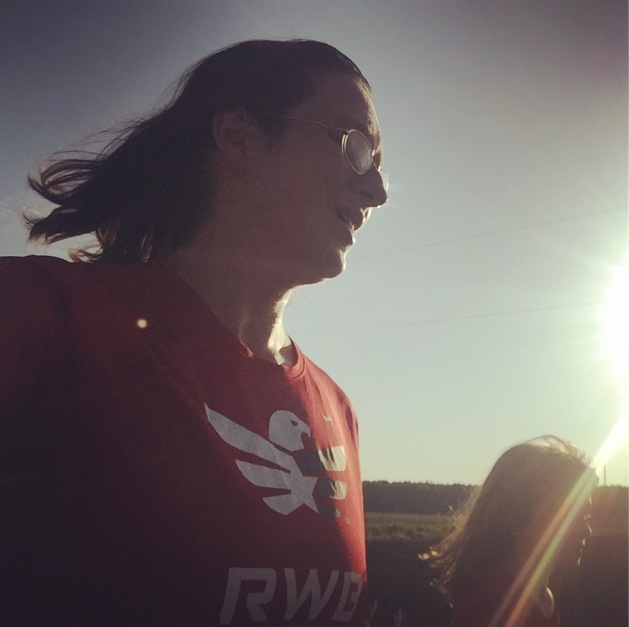 Both of us representing Team RWB out in the rural area near our home. We have a lot of runners in the area. And tractors.
