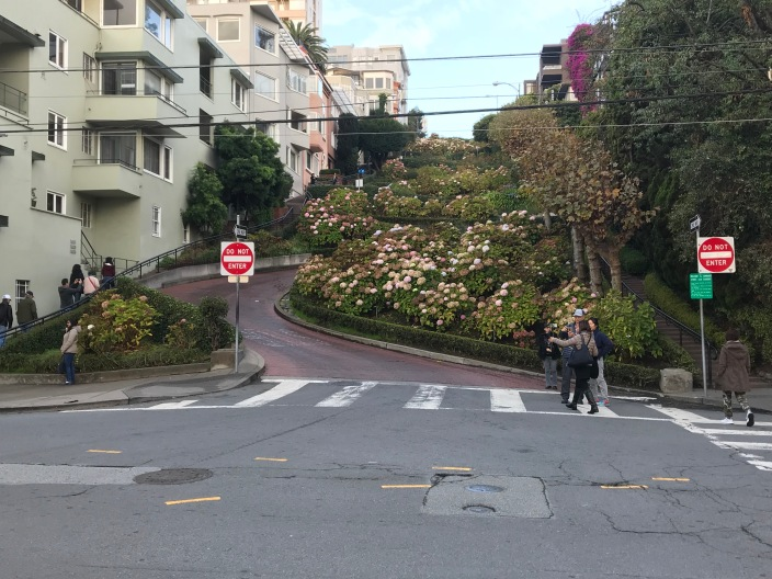The bottom of Lombardi Street.