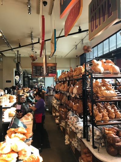 Boudin bakery. Look at the baskets on the ceiling that travel from the bakery to the store.