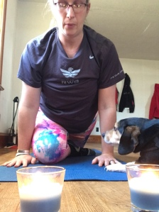 Our middle dog, a rescue beagle-mix named Blue, wanted to join me for yoga