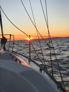 Sunset from a boat the day I helped navigate.