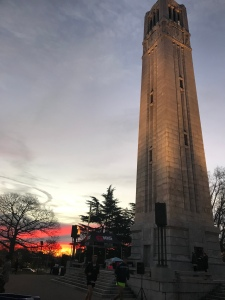 Sunrise at the N.C. State Belltower before the Krispy Kreme Challenge.