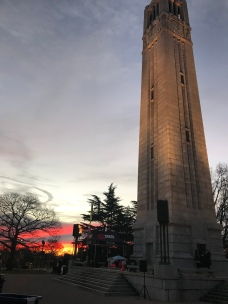 Sunrise at the North Carolina State University Belltower in Raleigh, NC, before the Krispy Kreme Challenge.