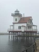 The Roanoke River Lighthouse in downtown Edenton, NC, on a foggy morning.