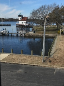 The Roanoke River Lighthouse as seen from the Barker House in downtown Edenton.