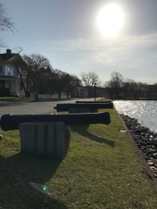 Cannons stand at the ready to defend the city from enemy ships.