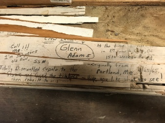 Glenn Adams worked on the courthouse cupola in the 1960s. He wrote a calling card of sorts, which included his address and social security number (which I photoshopped up).