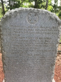 A marker noting the lost Roanoke colony Fort Raleigh National Historic Site..