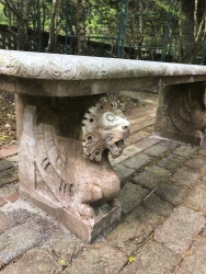 A bench at the Elizabethan gardens.