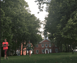 Mountain Kid 1 and I run intervals on the courthouse green.