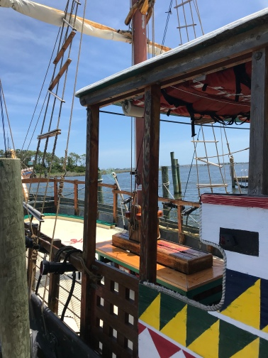 Gypsy VI is used by tourists who can shoot water from the cannons, attacking a nearby pirate ship.