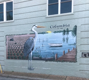 A mural on a building in Columbia has hidden objects in it for visitors to find.