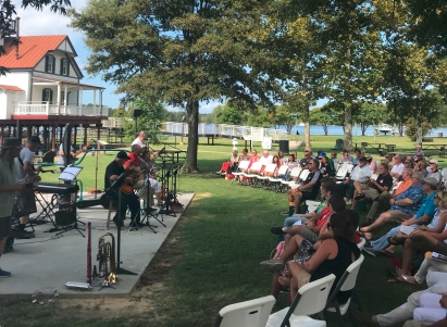 Dad liked the church and gospel music. This group, Captain's Crew, performed recently at a park.