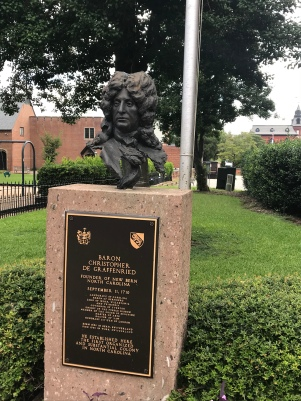 Baron Christopher de Graffenried was the founder of New Bern. His bust is on the property of Christ Episcopal Church in downtown New Bern.