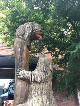 Various bear statues, including this one in a open pedestrian area, stand throughout New Bern.